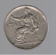 RARA - ITALIA 1 Lira 1922  KM62 - Monedas