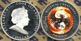 COOK ISLANDS $1 PHOENIX BIRD GREECE MYTHS  FRONT QEII HEAD BACK 2009 PROOF READ DESCRIPTION CAREFULLY !!! - Cook