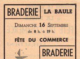 Lot Tract Braderie LA BAULE, Fête Du Commerce, De 1953 Avec Ticket De La Fête (annotation Sur Verso) - Publicité