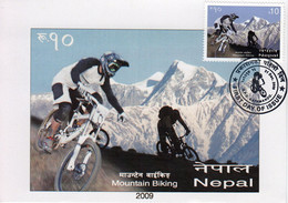 NEPAL MOUNTAIN BIKING SPORTS STAMP MAXIMUM CARD NEPAL 2009 MINT
