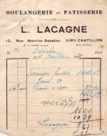 FACTURE  -  BOULANGERIE  ;  PATISSERIE   -  L. LACAGNE  -  VIRY   CHATILLON - 1900 – 1949