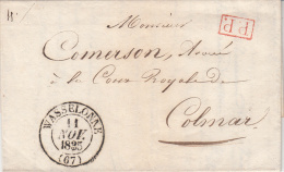WASSELONNE [type 13] Du 11 NOV 1835 + PP Rouge  Sur LAC Adressée à Colmar - Marcophilie (Lettres)