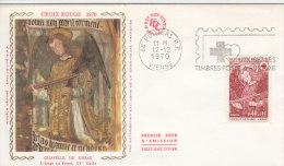 FDC FRANCE N°Yvert 1662 (CROIX ROUGE - DISSAY) Obl Sp FLAMME Ill 1er Jour (enveloppe Soie)  RR - FDC