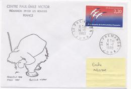 CAD PREMANON 14/01/1989 Sur Enveloppe Illustrée Paul-Emile VICTOR - Polar Explorers & Famous People