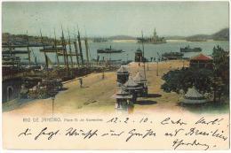 AK Rio De Janeiro Place 15. De Novembre Mit Nr. 166, Echt Gelaufen Nach Obernzell/Bayern 12.02.1910 - Rio De Janeiro