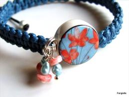 Bracelet Bleu Rose Perle Porcelaine, Perles De Culture, Coquillage Et Coton Ciré  Merci à Tendance-Perles Qui A Réalisé - Bracciali