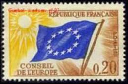 France - Timbre De Service N°  27 ** Conseil De L Europe Le 0.20 Fr - Brun, Bleu Et Jaune - Neufs