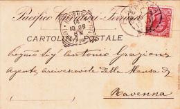 Pacifico Cavalieri, Ferrara Testatina Postale Viaggiata Per Ravenna 1908 - Advertising