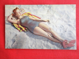 Female In Sexy Bathing Suit  Linen-- Not Mailed  Ref  1039 - Pin-Ups