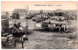 CPA ANIMEE MARSEILLAN LA GARE - Marseillan