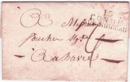 1815- Lettre De 13 / CONDE / SUR NOIREAU ( Calvados ) 38 X 16 Mm Noir Pour Le Havre Taxe 4 D. - 1801-1848: Precursores XIX