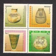 1989 Pakistan, Archaeology, Archaelogical, Pitcher, Jar, Vase, 4v Block MNH - Pakistan