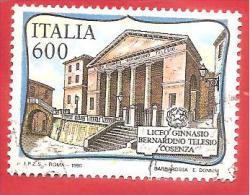 ITALIA REPUBBLICA  - USATO - 1990 - Scuole D'Italia - Liceo Ginnasio B.Telesio  - £ 600  - S. 1947 - 6. 1946-.. Repubblica