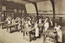 Postcard Board School Carpentry Class Woodwork Boys Children Nostalgia Repro - Schools