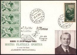 MOTORCYCLING - ITALIA RIMINI 1953 - 4° RALLYE MOTOCICLISTICO INTERNAZIONALE - CARTOLINA MOSTRA FILATELICA SPORTIVA - Motorfietsen