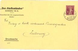 Enveloppe 1921 Gossau St-Gallen --> Fribourg, Affrr. 5c YT  191 Walter Tell, Tarif Imprimé / Drucksache - Suisse