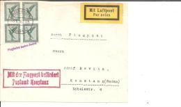 W-L006a/ Flugpost Baden-Baden-Konstanz Mit 4-er Einheit Reichsadler Frankiert - Deutschland