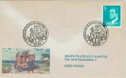 ENVELOPPE OBLITEREE M. QUIJOTE Et SANCHO EN ÂNE CONTRE LEON ESPAGNE 1983 - Gatos Domésticos