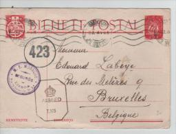 Bilhete Postal 1$00 Lisboa Central 1945 Censored English Passed T.175 & Belgian Circle 423 To Brussels PR268 - Postal Stationery