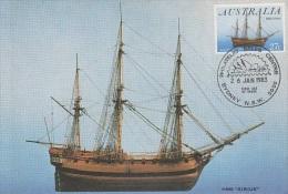 Australia-1983 Australia Day Ship Sirius Maximum Card - Cartes-Maximum (CM)
