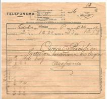 Telefonemas. 1914. Fechado En Cadiz - Documentos Antiguos