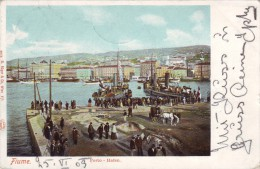 #0874 Croatia, Fiume, Litho Postcard Mailed 1903: The Port, Ships, Animated - Croatie