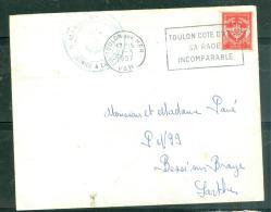 """Timbre FM Oblitéré  """" Toulon Sur Mer - Var   - Toulon Cote D'Azur / Sa Rade / Incomparable  -    Am9035 - Marcophilie (Lettres)"""