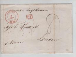 LAC D´Anvers C.rouge 6.6.1841 Gff PF Encadré  Taxé 8 To London Per Steamer C.d´arrivée Gd Chiffre 6 PR275 - 1830-1849 (Belgique Indépendante)