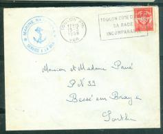 """Timbre FM , Oblitéré """" Toulon Ppal - Var - Toulon Cote D´Azur / Sa Rade / Incomparable   En 1958 - Am9044 - Marcophilie (Lettres)"""