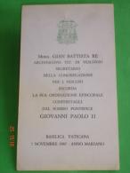 PENTECOSTE Spirito Santo/Maria Apostoli ANNO1987 Mons. GIAN BATTISTA RE Vescovo/ Papa GIOVANNI PAOLO II - Santini