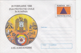 CIVIL PROTECTION, COVER STATIONERY, ENTIERE POSTAUX, 1998, ROMANIA - Other