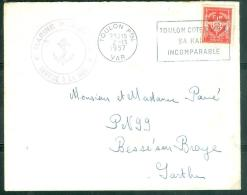 """Timbre FM  Oblitéré """"Toulon Ppal - Var  - Toulon Cote D'Azur/ Sa Rade/ Incomparable  En 1957 - Am9063 - Marcophilie (Lettres)"""