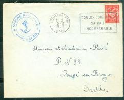 Timbre FM Oblitéré  Toulon Ppal - Var  - Toulon Cote D'Azur/ Sa Rade / Incomparable  En 1958  - Am9067 - Marcophilie (Lettres)