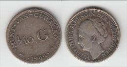 **** CURACAO - PAYS-BAS - NETHERLANDS - 1/10 GULDEN 1944 D WILHELMINA - ARGENT - SILVER **** EN ACHAT IMMEDIAT - Curaçao