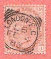 "GB SC 87 U  PLT#13 1880 Q Victoria  W/SON W/short Perf @ BL (""LONDON-E.C / L6 / FE 4 82""), CV $165.00 - 1840-1901 (Victoria)"