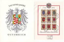 0815q: Österreich- Gedenkblatt 1000 Jahre Mit Eingeklebtem Block - Geschichte