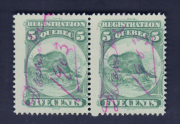 Fiscaux #QR5 Pair With Ink Print At The Back Look (  5c 1871 Beaver ) Timbre Taxe Quebec Canada Recto /verso - Fiscaux