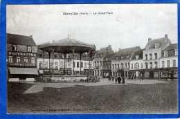 59 MERVILLE LA GRAND' PLACE ANIMEE KIOSQUE A MUSIQUE COMMERCES NOUVEAUTES CONFECTIONS - Merville