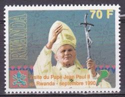T] Timbre ** Stamp ** Visite De Jean-Paul II Au Rwanda John-Paul II Visit To Rwanda70f - Rwanda
