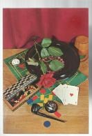 Cartolina Con Roulette Carte Scacchi Carte Pipa Accendino - Carte Da Gioco