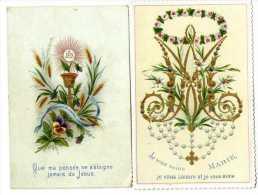 JE VOUS SALUE MARIE & QUE MA PENSEE   2 IMAGES RELIGIEUSES  ANNOTATION SUR UNE 1888    -    XIX °  RECTO VERSO - Devotion Images