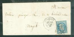 Oblitération Gros Chiffres 3535 ( Saint Calais - Sarthe ) + CACHET 2188 Au Dos Sur Lac Daté De Juillet 1870  - Am9119 - Marcophilie (Lettres)