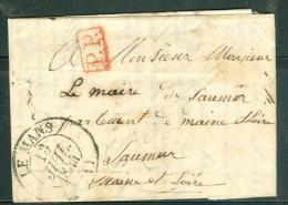 Cad Le Mans De 1844 Sur LAC , PP EN ROUGE , Pour Saumur  - Am9127 - Marcophilie (Lettres)