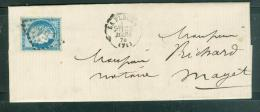 Oblitération Gros Chiffres 1517 , Sur LAC  De La Flèche En 1874 POUR MAYET - Am9130 - Postmark Collection (Covers)