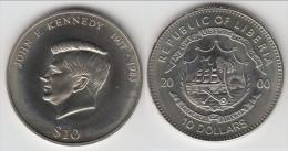 **** LIBERIA - 10 DOLLARS 2000 - TEN DOLLARS 2000 - JOHN FITZGERALD KENNEDY 1917-1963 - UNC **** EN ACHAT IMMEDIAT !!! - Liberia