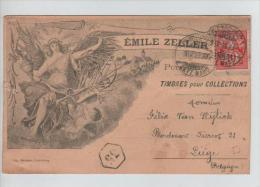 TP 5-3-2 S/CP Privée Emile Zeller Timbres Pour Collections Oblitération Porrentruy 9/4/1899 V.Liège C. D'arrivée PR279 - 1882-1906 Armoiries, Helvetia Debout & UPU
