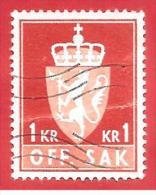 NORVEGIA - NORWAY - USATO - 1972 - SERVIZIO - OFF. SAK I Fosforescent - 1 Krone - Michel  NO D94 - Service