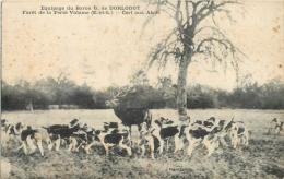 28 CHASSE A COURRE FORET DE LA FETE VIDAME EQUIPAGE DU BARON DORLODOT CERF AUX ABOIS - France