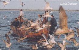 Romania, ROM-065,  The Danube´s Delta 3, Birds, Fishingboat, 2 Scans. - Romania