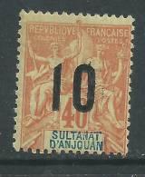 Anjouan N° 26 XX Type Groupe Surchargé : 10 Sur 40 C. Rouge-orange, Sans Charnière, TB